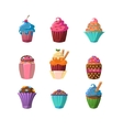 Decorated Cupcakes Sticker Collection vector image vector image