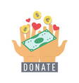 donate button sticker with hands dollar money vector image