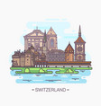 famous swiss landmarks tower and cathedral vector image vector image
