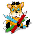 fox holding colored pencils vector image vector image
