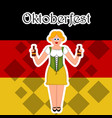 girl with beer bottles on a flag of germany vector image