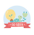 go green bulb turtle and plug environment ecology vector image