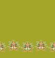green folk art border with bunny vector image vector image