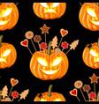 halloween seamless pattern wit pumpkins vector image