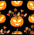 halloween seamless pattern witn pumpkins and vector image