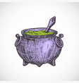 hand drawn colorful halloween witch cauldron vector image vector image