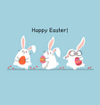 happy easter greeting card with easter bunnies vector image