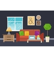 Home office interior in flat style vector image vector image