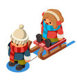 kids isometric boy sledding girl sleigh winter vector image vector image