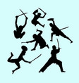 martial art male and defense action silhouette vector image vector image