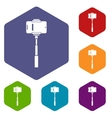 Mobile phone on a selfie stick icons set