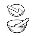 Mortar and pestle Linear logo vector image