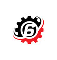 number 6 gear logo design template vector image vector image