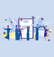people get diploma certificate finish university vector image