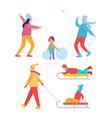 peoples activities in winter vector image vector image