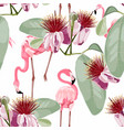 pink flamingo graphic palm leaves pattern vector image vector image