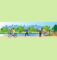 public park people relax wooden bench outdoors vector image vector image