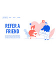 refer friend mobile communication landing page vector image vector image