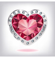 Ruby heart in diamonds vector image vector image