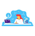scientific doctor woman working at science lab vector image