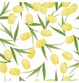 seamless pattern of tulip flowers and leaves on vector image