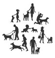 set dog and people silhouette black flat vector image