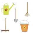 set gardening tools vector image