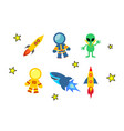 set icon on space logo vector image
