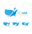 set of usa logo combination america and travel vector image vector image