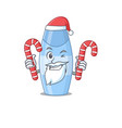 shampoo dressed in santa with christmas candies vector image vector image