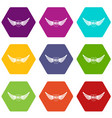 shield wing icons set 9 vector image vector image