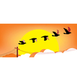 Silhouette flying birds at sunset vector image vector image