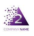 silver number two logo in purple pixel triangle vector image