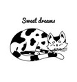 sleeping cat sweet dreams lovely pet hand drawn vector image vector image