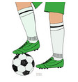 soccer ball under player feet on white background vector image vector image