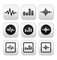 Soundwave music buttons set vector image