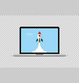 startup concept start up rocket in laptop vector image