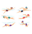 swimmers at various poses cartoon sport vector image vector image