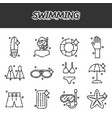swimming icons set vector image vector image