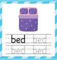 tracing worksheet with word - bed learning vector image vector image