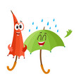 two funny happy umbrella characters open and vector image vector image