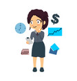 very busy business woman character vector image vector image