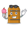 with ice cream wooden door isolated on character vector image