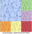 Yoga poses collection - background seamless vector image