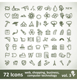 Green large Icons Set Collection vector image
