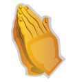 a yellow hands praying on a white background vector image vector image
