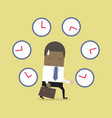 african businessman with many clocks vector image vector image