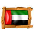 arab emirates flag in wooden frame vector image vector image