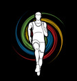 athlete runner a man runner running front view vector image