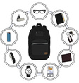 Backpack Contents vector image vector image